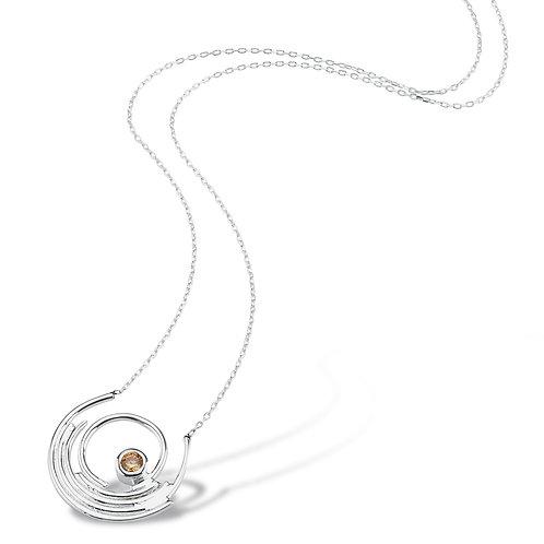 Sampanya-Zirkon-Tasli-Helezon-Kolye 925 ayar gümüş