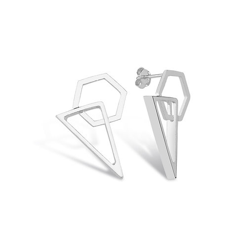 üçgen formlu küpe 925 ayar gümüştür