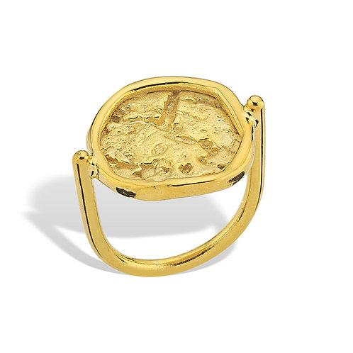 muhur-yuzuk amorf görünümü ile antik medeniyetleri çağrıştırıyor. altın kaplama yapılmıştır.