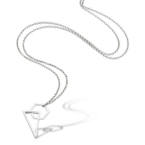 Ucgen-Formlu-Kolye geometrinin güçlü çizgileri üçgen ve altıgen bir arada gümüş kolye