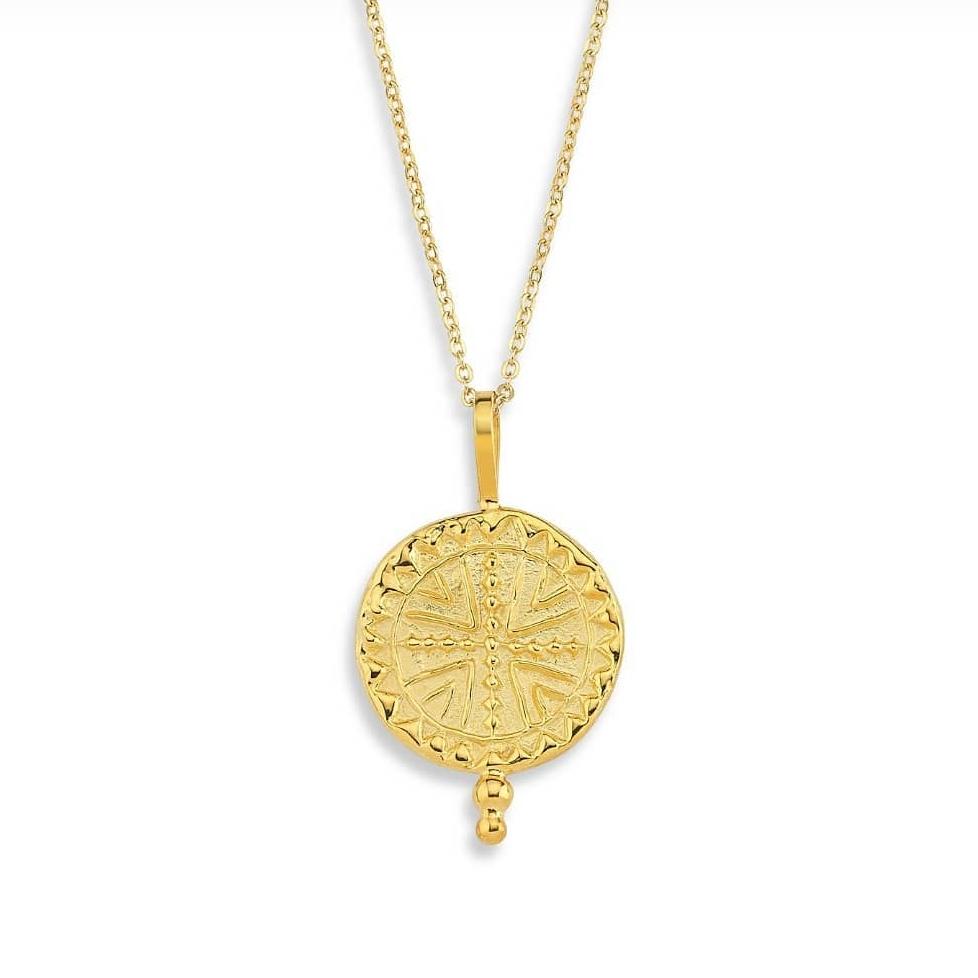 Maya Sembolü Figürlü Madalyon Kolye