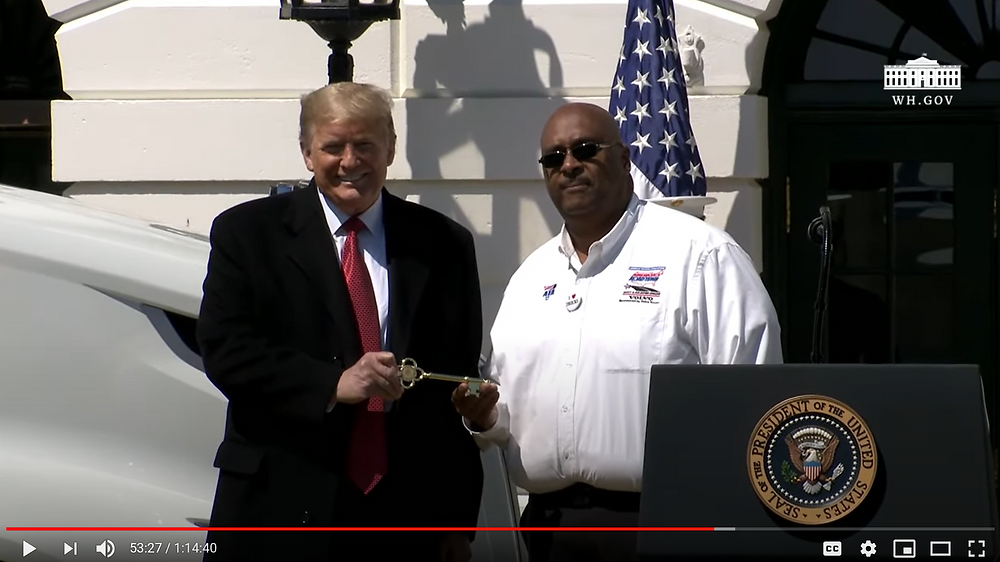 Presdient Donald Trump honoring Big G Express Employee Owner Stephen Richardson [Source: The White House YouTube Channel]