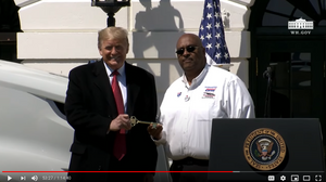 President Donald Trump honoring Big G Express Employee Owner Stephen Richardson [Source: The White House YouTube Channel]