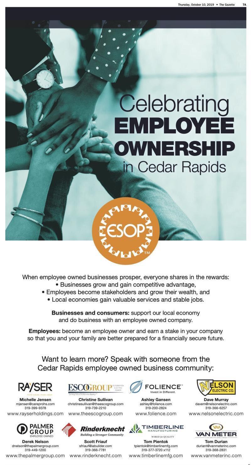 Celebrating Employee Ownership Ad being run in the Cedar Rapids Gazette