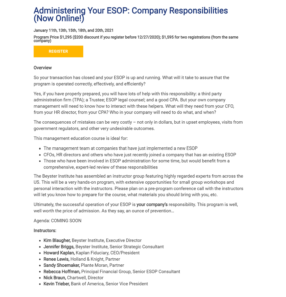 Course Description for Administering Your ESOP: Company Responsibilities