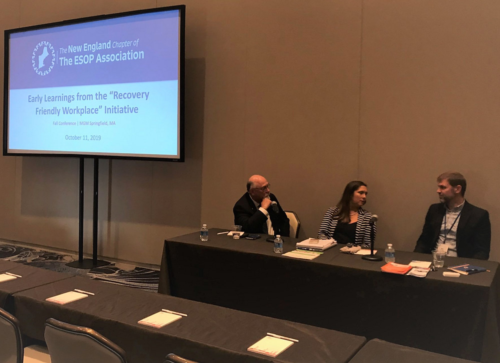 Early Learnings from the 'Recovery Friendly Workplace' Initiative presentation by Matt McKenney of Hypertherm, Cameron Ford of Headrest, and Shannon Bresaw of Granite United Way and the Recovery Friendly Workforce Initiative shared on October 11, 2019 at The ESOP Association New England Chapter Fall Conference in Springfield, Massachusetts.