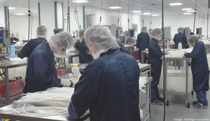 The employee owners of NewAge Industires at the company's Bucks County manufacturing plant, where the products that are made include tubing used in ventilators. [Photo Source: NewAge Industries, as shared by the Philadelphia Business Journal, April 10, 2020]