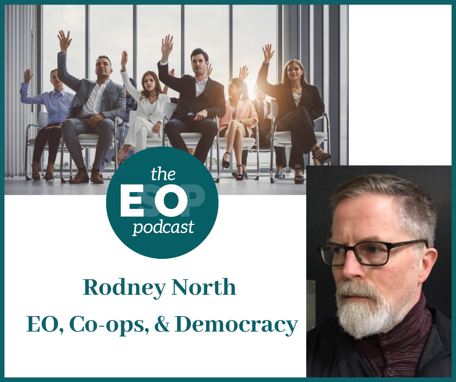 The EO Podcast Logo and an image of guest Rodney North and a photo of a group of people voting by a show of hand. Title: Rodney North, EO, Co-ops, & Democracy