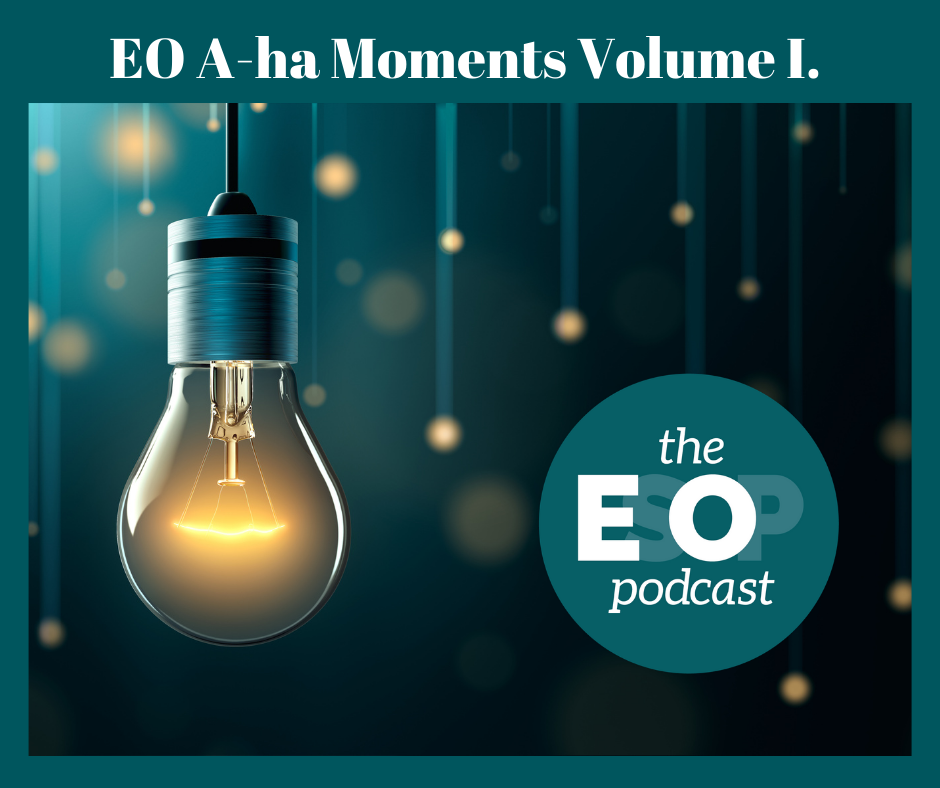 An image of many light bulbs shining in the dark with the EsOp podcast logo.