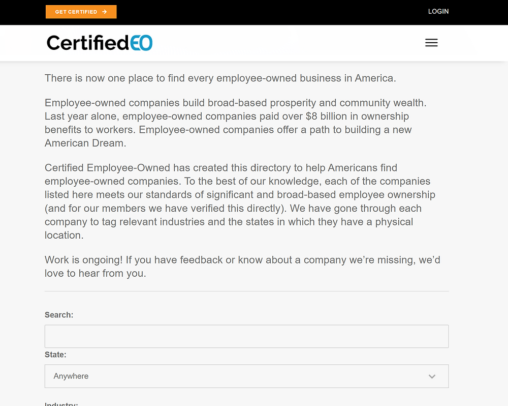 The Certified EO Directory of Employee-Owned Companies (beta)