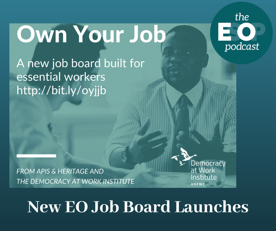 Text: Own Your Own Job - A new job board built for essential workers. http://bit.ly/oyjjb From Apies & Heritage and The Democracy at Work Institute