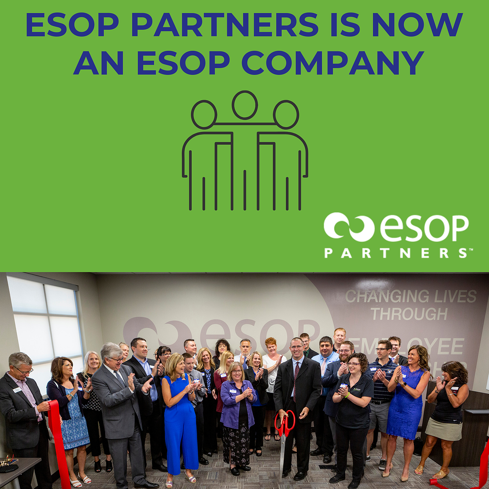 "ESOP Partners: ""In honor of Employee Ownership Month we have BIG news to share! We are proud to say that we have joined the ranks of approximately 6,600 companies that are owned by an ESOP."" Source ESOPPartners.com News and Events"