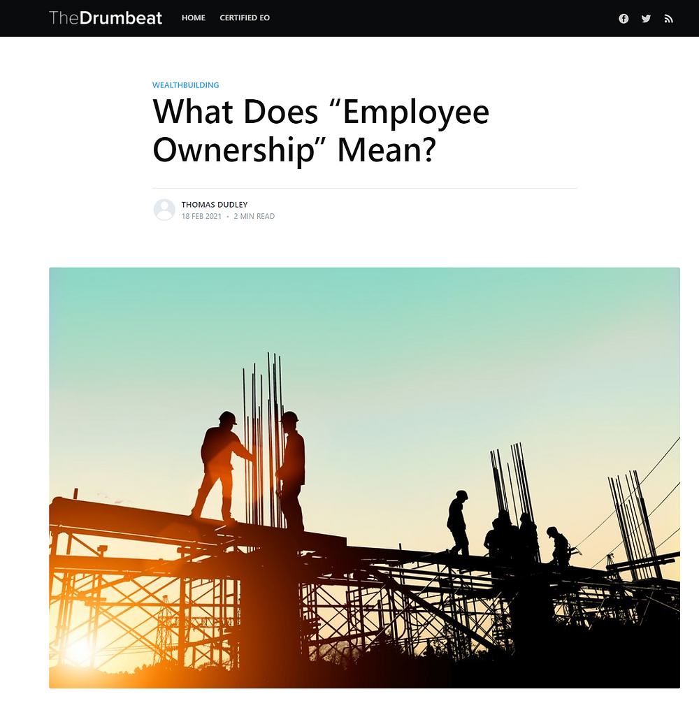 "The Drumbeat: ""What Does ""Employee Ownership"" Mean?"". Photo of construction workers on girders."