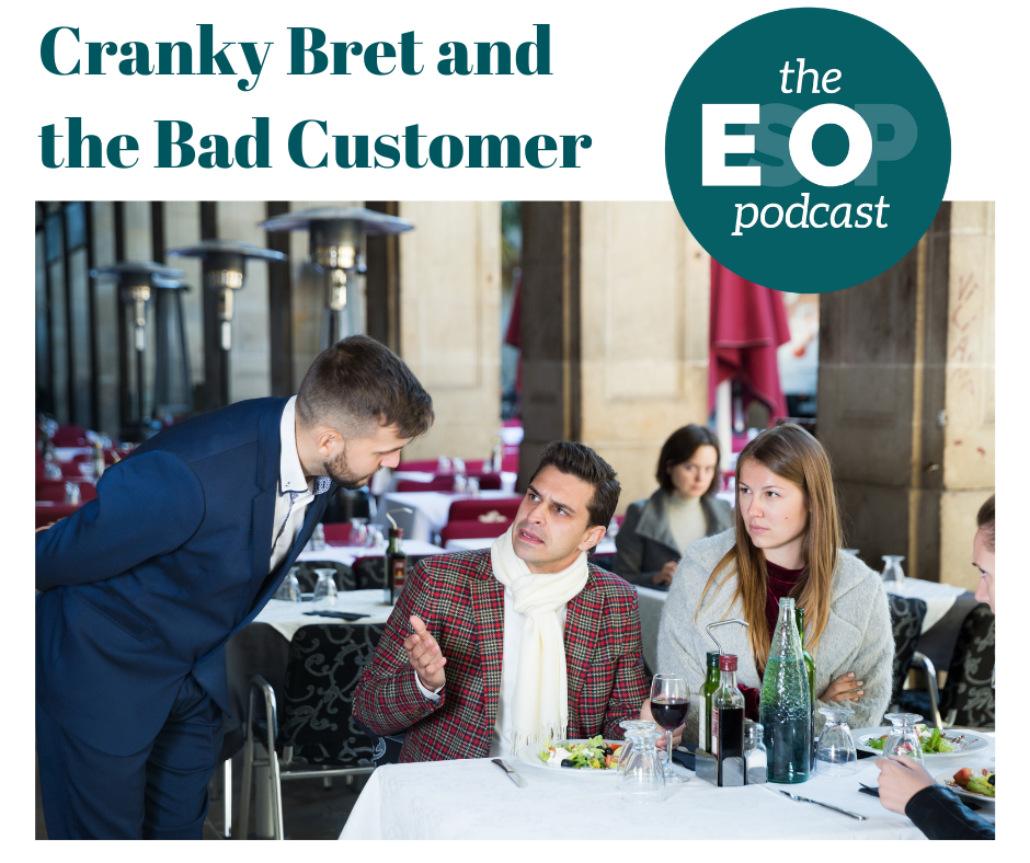 An image of a unhappy couple at an outdoor eatery superimposed with the EsOp Podcast logo.
