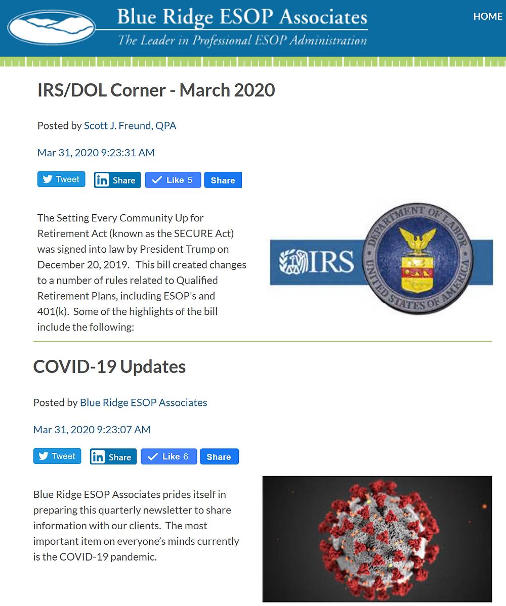 Source: Blue Ridge ESOP Associates News, March 31, 2020
