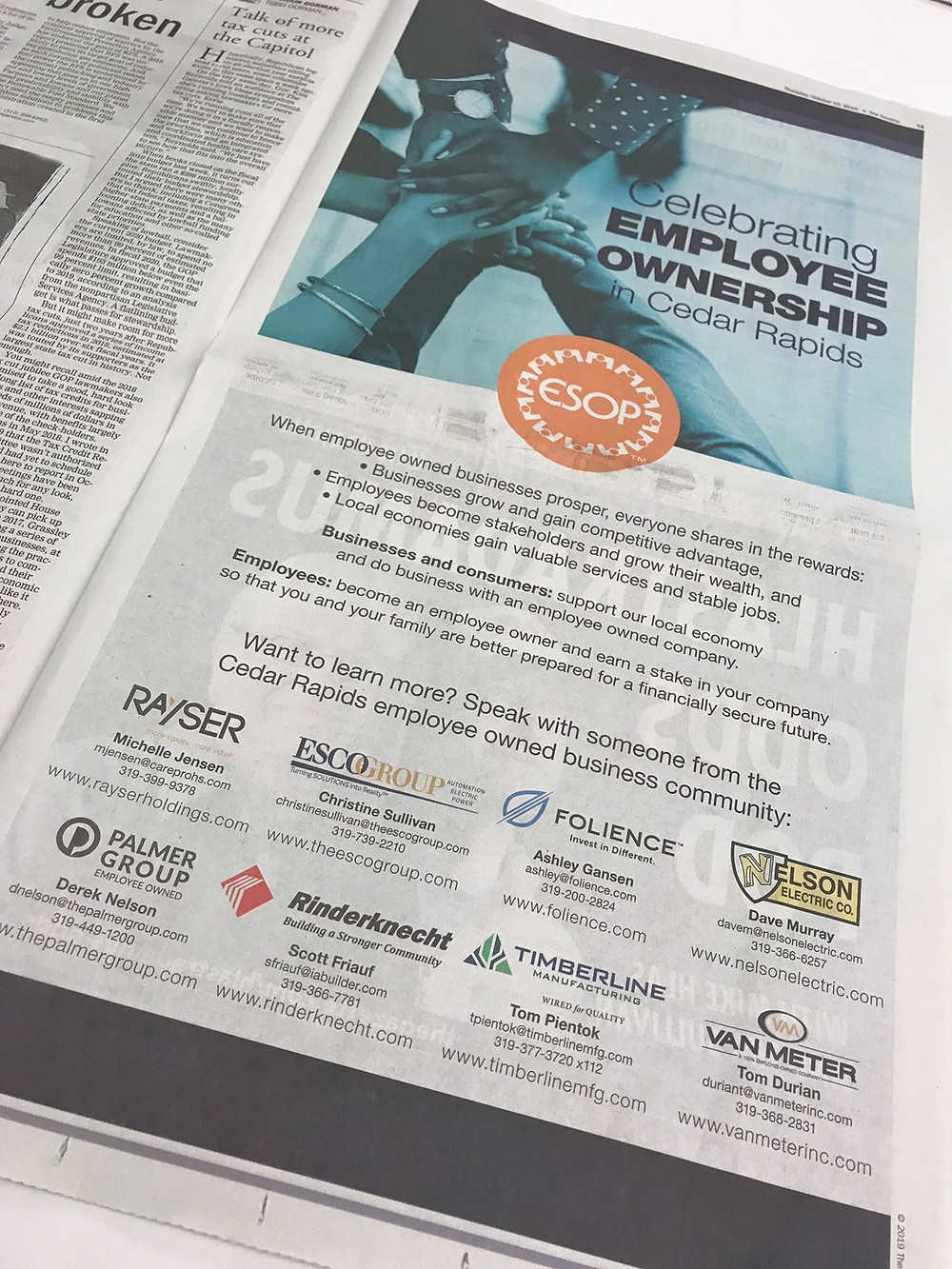 """Celebrating Employee Ownership in Cedar Rapids"" Published in The Gazette; Source: Nelson Electric's Facebook Page"