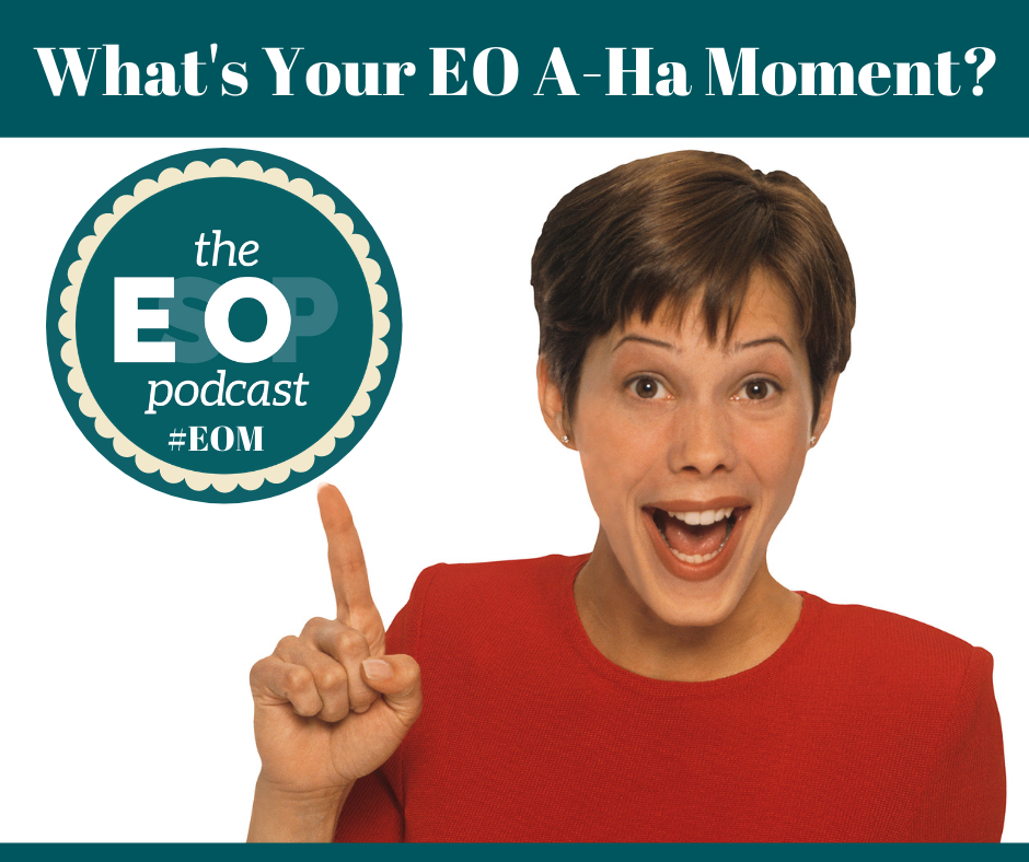 "Woman pointing finger and saying ""A-Ha"" with the ESOP Podcast logo"