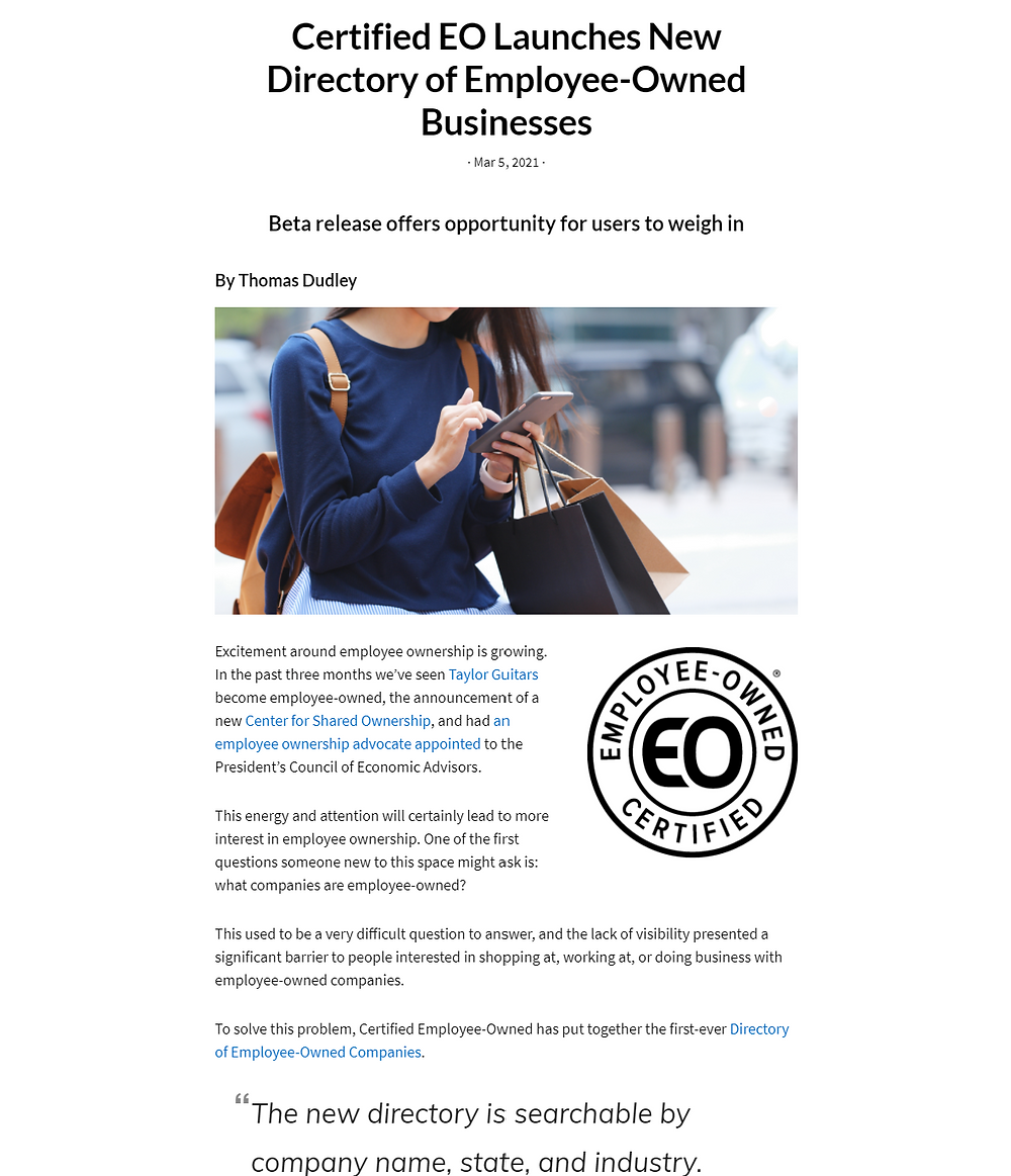 Story in Employee Ownership News about the beta launch of the Directory of Employee-Owned Businesses