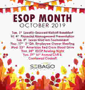 An excellent example of a full slate of October Employee Ownership Month Activities from Sebago Technics [Source: Sebago Technics, Inc. Facebook Page]