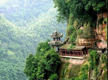 Picture of mountains and Chinese temple