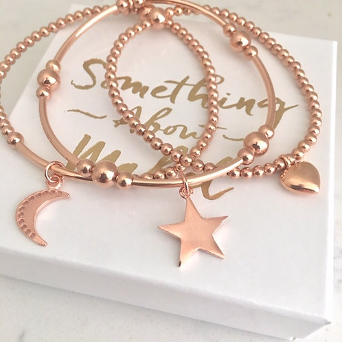 'Love You To The Moon & Stars' Rose Gold Bracelet Stack