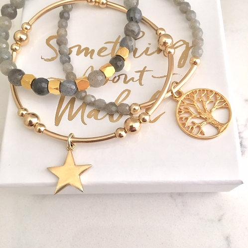 Tree of Life Gold Bracelet Stack