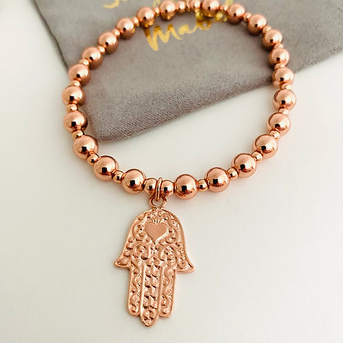 Chunky Rose Gold Hamsa Bracelet