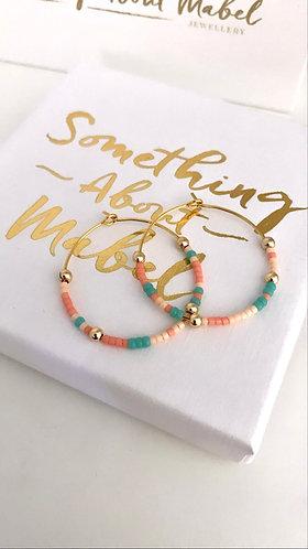 Island Earrings - Peaches & Green