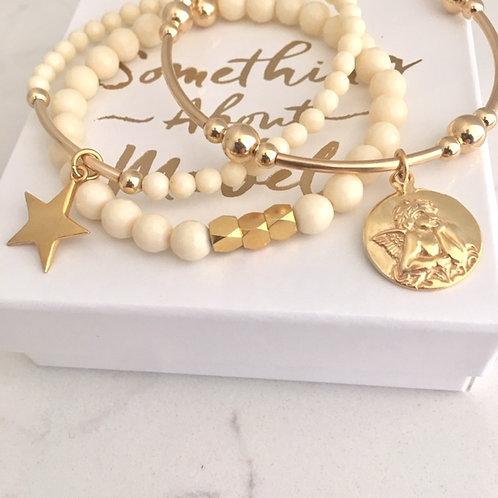 Cream & Gold Cherub Bracelet Stack