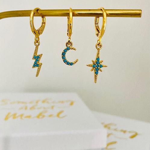 Turquoise Huggie Hoop Earrings - Options available