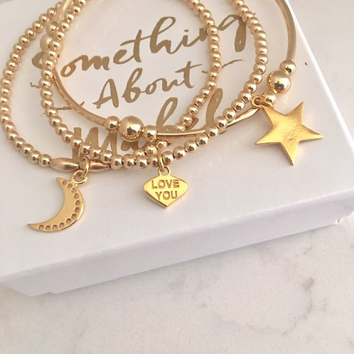 'Love You To The Moon & Stars' Gold Stack