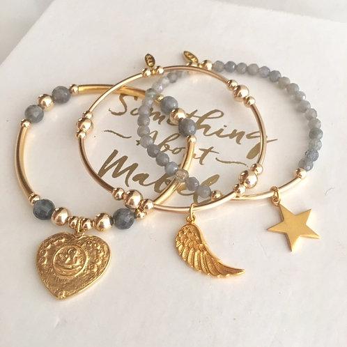 Gold Angel Wing Bracelet Stack