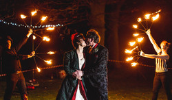 Bride and Groom Neon Moon Fire Performers