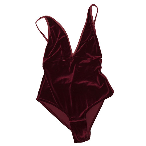 VELVET BODY BABE- wine (new with snap closure)