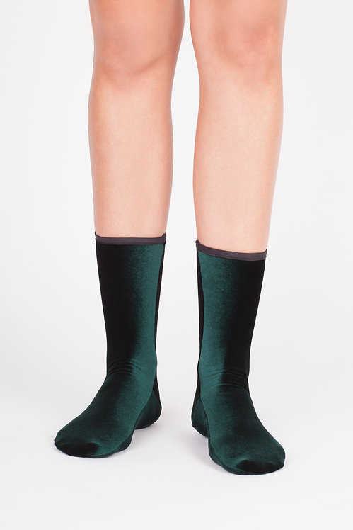 VELVET ANKLE SOCKS - forest green