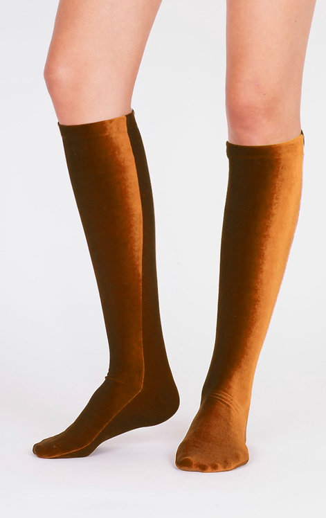 VELVET KNEE SOCKS - gold
