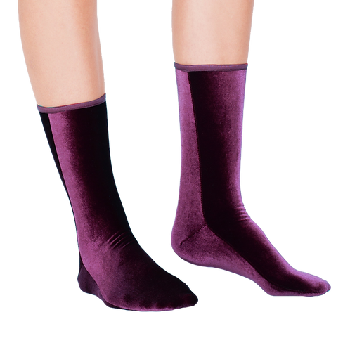 VELVET ANKLE SOCKS - plum