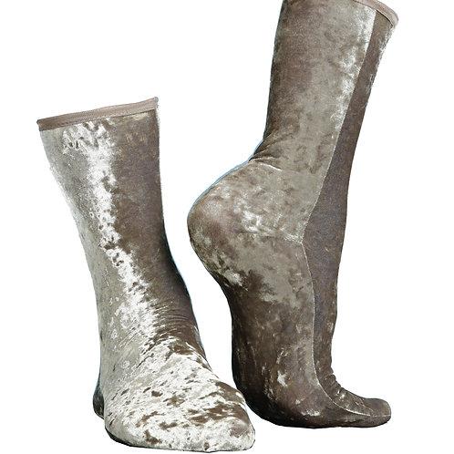 HAMMERED VELVET Ankle SOCKS - EARTH