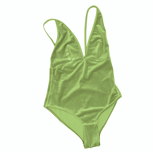 VELVET BODY BABE- apple green (new with snap closure)