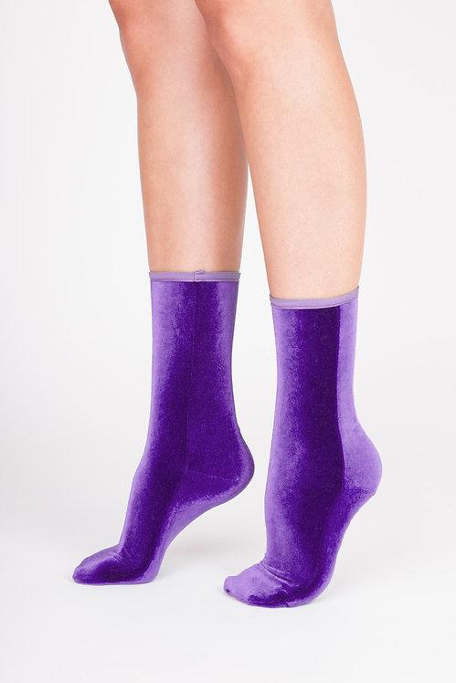 VELVET ANKLE SOCKS - purple