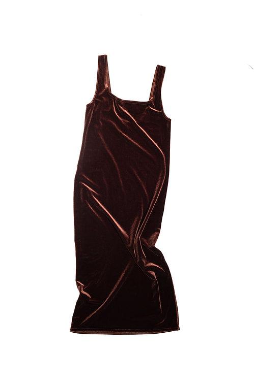 Velvet DRESS midi - nut
