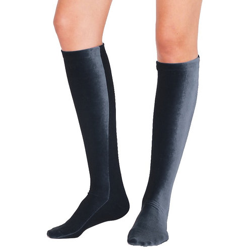 VELVET KNEE SOCKS - anthracite