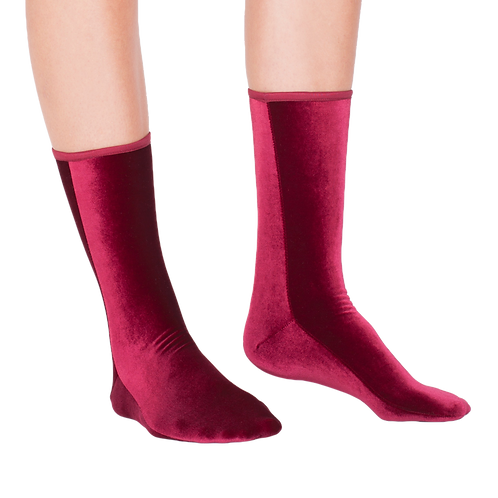 VELVET ANKLE SOCKS - wine