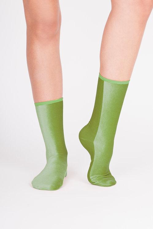 VELVET ANKLE SOCKS - apple green ( available also as SPLIT TOE SOCKS )