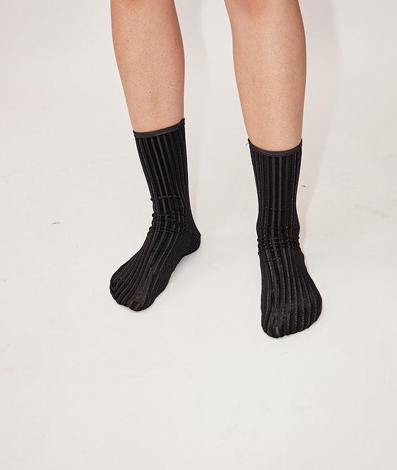 RIB Velvet Ankle SOCKS - black & white