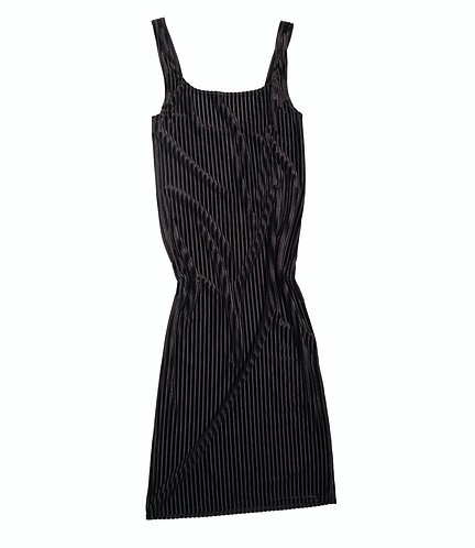 RIB Velvet DRESS DINA - black