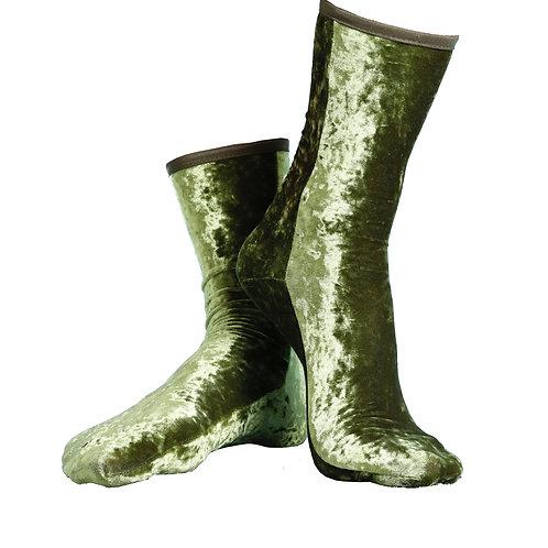 HAMMERED VELVET Ankle SOCKS - LEAF
