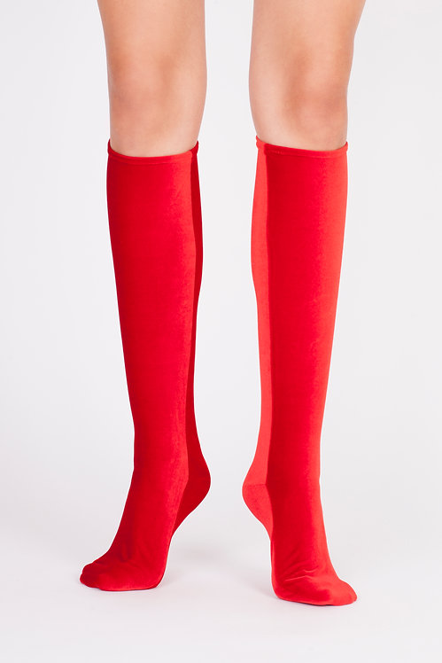 VELVET KNEE SOCKS - fire red