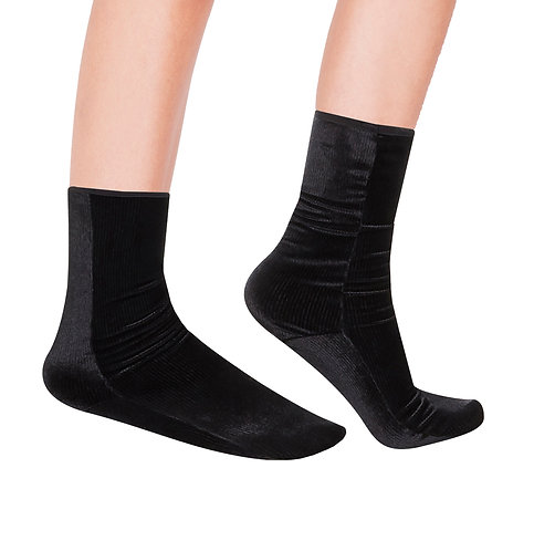 mini RIB Velvet ANKLE Socks - black