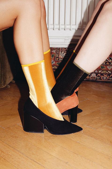 Velvet Socks mustard yellow olive green